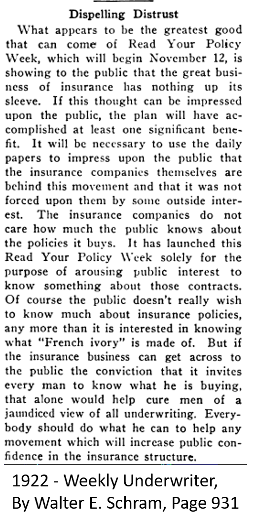 1922 Read Your Policy Week Good for everybody