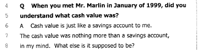 Blumenthal v New York Life - Cash Value What else is it supposed to be